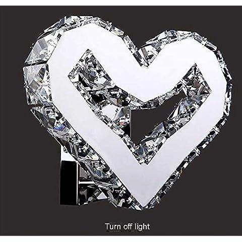 Creative moderno muro di cristallo corridoio camera da letto posto letto doppio colore illuminazione a LED,a forma di cuore piccola lampada da parete