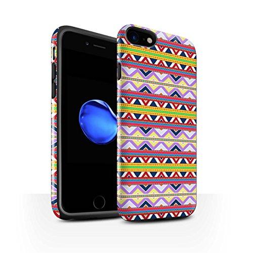 STUFF4 Glanz Harten Stoßfest Hülle / Case für Apple iPhone 8 / Grün Muster / Aztekische Stammes Muster Kollektion Lila/Rot