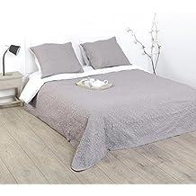 ensemble dessus de lit matelass avec ses 2 housses de coussin doux et chaleureux - Dessus De Lit Taupe