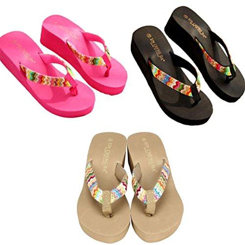 Con Sandali Sandali Zeppa Spiaggia Piatto Patch Transer Pantofole Piattaforma Donna Di Rosa Estate qRSXnw