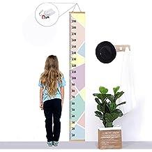 Niños Tabla de crecimiento, Bingolar niños medidor de altura Growth Chart altura Gráfico Mural de la pared para colgar reglas para el dormitorio de los niños guardería infantil (rosa 7,9x79 en)