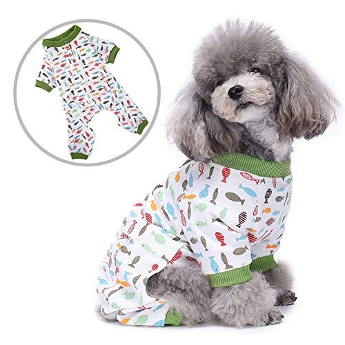 Den Kostüm Mit Fischen Schlafen - Zunea Schlafanzug für kleine Hunde, weiche Baumwolle, mit Beinen, Bunte Fische, Bedruckt, Schlafanzug, bequem, Haustier/Katze, Chihuahua-Kostüme