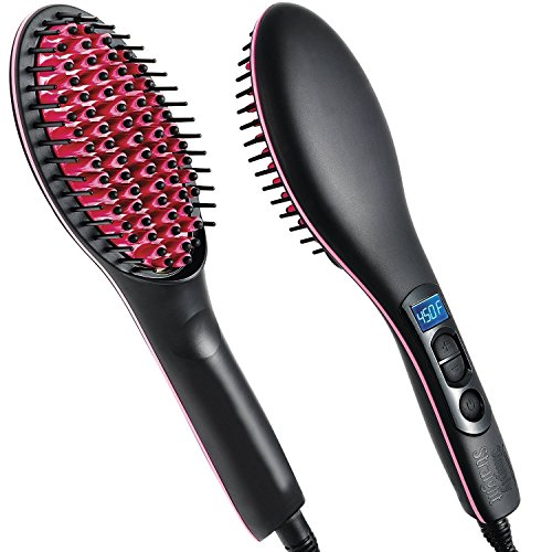 Everbuy Black/Pink Hair Straightener, Detangler Brush Electric Comb, Hair Straightening Iron Ceramic, Instant Natural Hair Styles