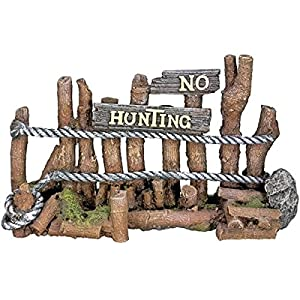 Nobby Wooden Fence (No Hunting) Aquarium Ornaments, 21.5 x 7 x 12.5 cm