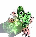 Frosch Grün Schwarz Gepunktet - Frog Figur aus Glas - Glasfigur Glastier Deko Setzkasten Vitrine Nr.3
