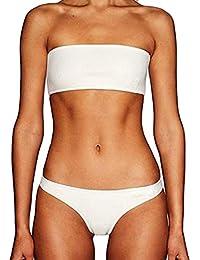 Bikini Trajes de baño Mujer, ☀ ☀ Manadlian 2018 Traje de baño de las mujeres Fuera del hombroHacer subir Sujetador con relleno Conjunto de Bikini de PlayaTrajes de baño (CN:S, Blanco)
