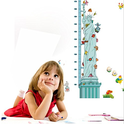 Preisvergleich Produktbild GenialES Wandaufkleber zum Messen von Kinderwachstum Vinyl-Wandtattoo für Schlafzimmer Wohnzimmer Schrank mit Zeichnung von Giraffe Löwe Elefant Eule 6.Estatua de la Libertad
