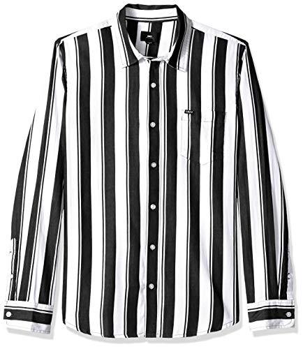 Obey Herren Echo Long Sleeve Woven Shirt Button Down Hemd, Weiß/Mehrfarbig, Klein - Long Sleeve Woven Shirt