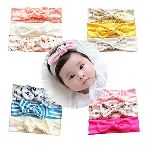 Vellette Head Band Baby Girl Multicolor Bow Hair Hoops Headbands Girl's Soft Headband with Bows Ribbon Flower Princess Hairband