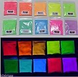 Brillo en polvo fluorescente ultravioleta UV, 10colores diferentes
