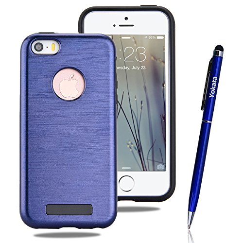 iPhone 5 / 5S / SE Hülle, Yokata 2 in 1 Cover 2 Layer Hybrid Case Innere Weich TPU Silikon Backcover mit Hart PC Rüstung Armor Case Schutz Anti-stoß Schutzhülle + 1 x Kapazitive Feder Navy Blau