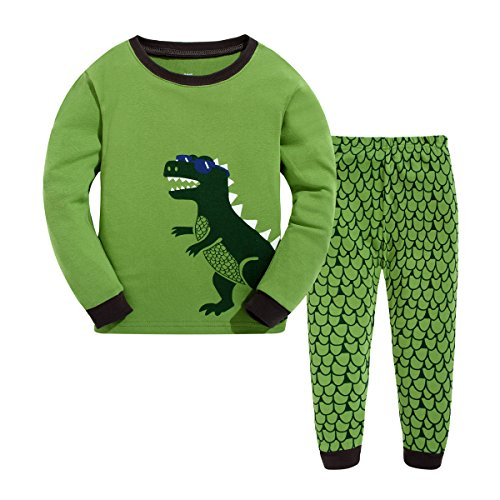Bebone Pijama Dinosaurio para Niños o Niñas Conjuntosde top + Pantalones Largas Algodón (Verde,3años)