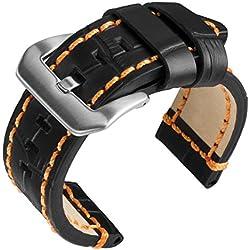 "24mm Geckota® ""Rugged"" Black Alligator Grain, Heavy Duty, Orange Stitch Replacement Watch Strap"