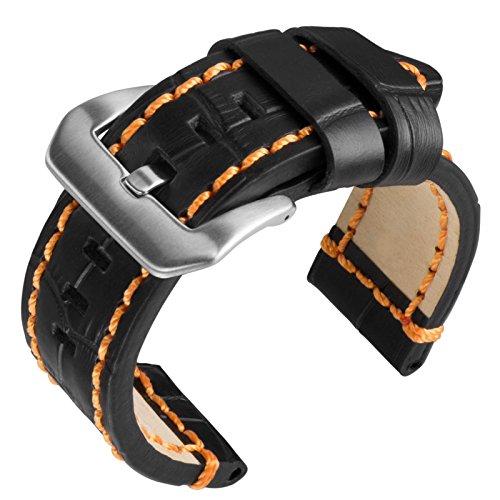 24mm-geckotar-stabil-schwarz-alligator-kornung-belastbar-orangene-naht-ersatz-uhrenarmband