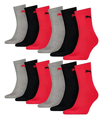 Puma Unisex Short Crew Socken Basic Sportsocken 12er Pack, Größe:43-46;Farbe:black/red