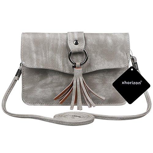 xhorizon Borsa a tracolla in pelle a croce in PU, borsa a moneta con raccoglitore in mini borsa a tracolla della borsa a tracolla con ciondolo a nappa #3
