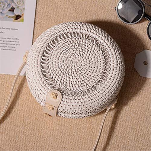 Tasche Bali böhmischen Frauen Vintage Stroh Strand Handtasche Mini Runde Crossbody Tasche handgefertigte Schultertaschen White ()