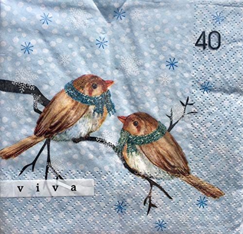Viva Set von 40Luncheon Papier Servietten, pearched Vögel mit Schals Luncheon Set