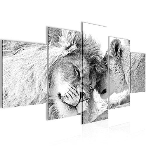 Bilder Löwen Liebe Wandbild 200 x 100 cm Vlies - Leinwand Bild XXL Format Wandbilder Wohnzimmer Wohnung Deko Kunstdrucke Grau 5 Teilig -100% MADE IN GERMANY - Fertig zum Aufhängen 002151c
