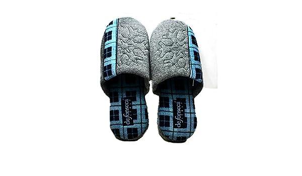 SendIt4Me Mens Grey/Light Blue Tartan Stripe Open Back Slippers