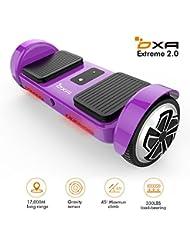 Hoverboard Scooter eléctrico de dos ruedas con equilibrio automático Certificación UL 2272 con luz LED, corrección de equilibrio inteligente, placa base completa, alcance de 17 km, violeta