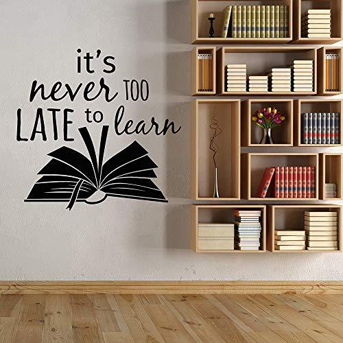 woyaofal Biblioteca Libro Cita de Estudio Nunca es Demasiado Tarde para Aprender Vinilo Tatuajes de Pared Decoración para el hogar Arte Mural Pegatinas de Pared 85x90 cm