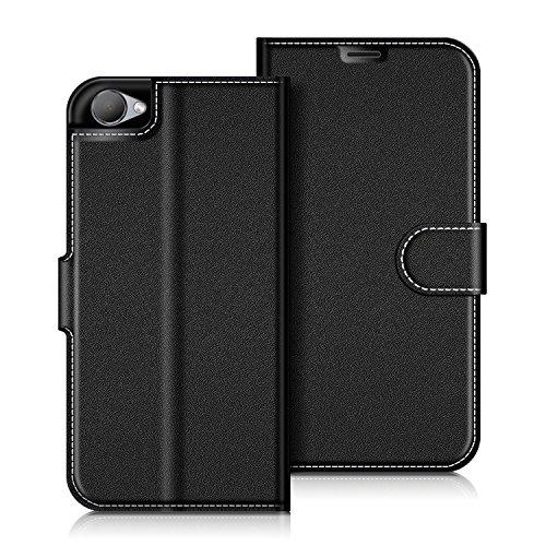 COODIO HTC Desire 12 Hülle Leder Lederhülle Ledertasche Wallet Handyhülle Tasche Schutzhülle mit Magnetverschluss/Kartenfächer für HTC Desire 12, Schwarz