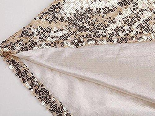YaoDgFa Damen Paillettenkleid Minikleid Cocktailkleid Abendkleid Partykleider Etui Kleid mit Pailletten Langarm Rückenfrei Kurz - 4