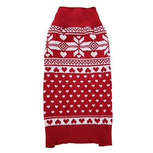 ZTMN Pullover Hund rote Schneeflocke Pullover Hund Kleid Haustier Kleidung Weihnachten Kostüm Kleidung für Hunde (Größe: S) - Schneeflocke Pullover Kleid