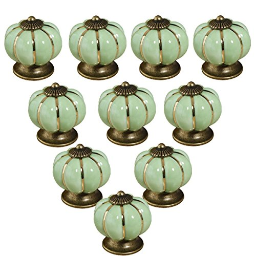 MITE 10pcs Ceramic Vintage Pumpkin Handles Knobs for Drawers Cabinets Doors Furniture Kitchen Home Decorating (Pea Green)