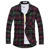 OCHENTA Hemden Herren Langarm Plaid Flanellhemd N024 Gruen Rot EU L (Asien 2XL)