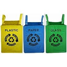 Proteam HO1855 - Juego de bolsas con símbolos de reciclaje para papel, plástico y vidrio (3 unidades), varios colores