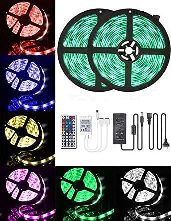 led streifen licht 10m 16 rgb farben led beleuchtung mit fernbedienung dimmen selbstklebend. Black Bedroom Furniture Sets. Home Design Ideas