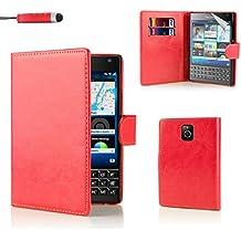 BlackBerry Passport Funda Carcasa Flip de Piel PU Tipo Libro Billetera con Tapa y Tarjetero de 32nd® - Rojo