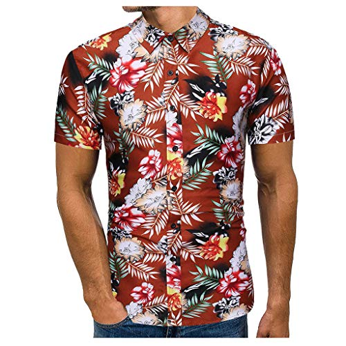 Crazboy Herren Sommer Beiläufig Slim Fit Strand Hemd Gedruckt Kurzarm T-Shirts Tops Strand Bluse(Large,Braun-A)