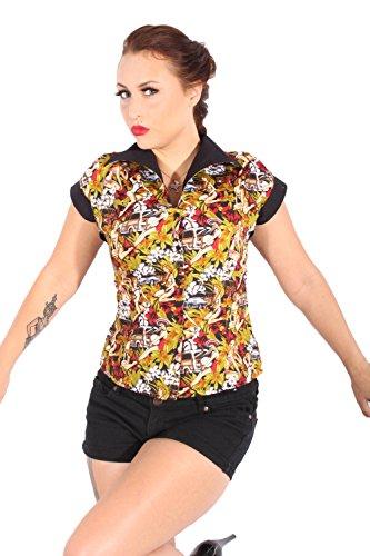 SugarShock Damen Hibiskus Blüten DINER Style PIN UP retro rockabilly Hawaii Hemd Bluse M -