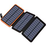FEELLE 24000mAh Solar Power Bank, Solar Ladegerät with 3 Solarzellen Wasserdicht Externer Akku Battery Pack mit Lighting für iPhone, iPad, Samsung, Huawei und Andere Geräte
