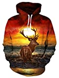 Loveternal Unisex Erwachsene 3D Elch Grafik Print Kordel Tasche Make Up Pullover Hoodies Sweatshirt für Frauen Männer S
