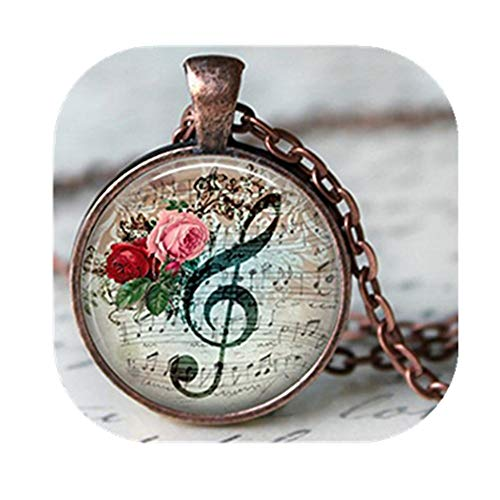 Leonid Meteor Shower Vintage floral Musik Note Glas Anhänger Halskette, handgefertigt Anhänger Halskette, Floral Musik