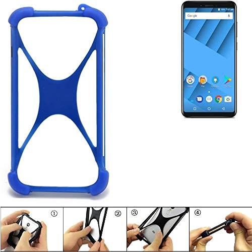 K-S-Trade Handyhülle für Vernee M6 Silikon Schutz Hülle Cover Case Bumper Silikoncase TPU Softcase Schutzhülle Smartphone Stoßschutz, blau (1x)
