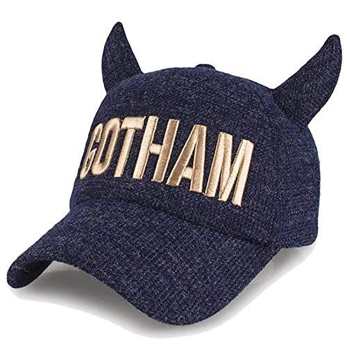 zlhcich Hut Mode Baseball Cap männlich warme Mütze Männer Horn Teufel Ohrenschützer versteckt blau