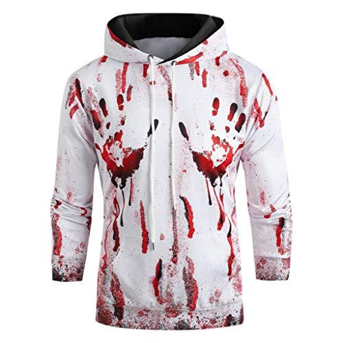 Halloween Sweatshirt Pullover Herren Halloween Kostüm,Halloween Frauen Männer Paare Blutdruck Langarm Hoodie Sweatshirt Pullover Bluse Shirts Kapuzenjacke (Harley Davidson Biker Mädchen Halloween Kostüm)