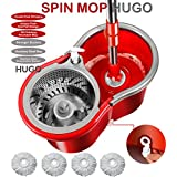 Hugo Mop Bucket Magic Spin Mop Bucket Double Drive Hand Pressure Stainless Steel Mop With 4 Microfiber Mop Head Household Floor Cleaning & 4 Color May Vary (with Soap Dispenser)