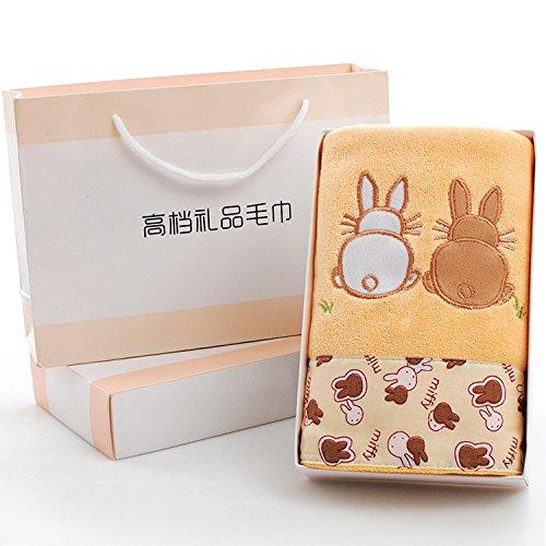 ZHFC Handtuch Box Single - Hochzeit Souvenir Leben Rückkehr Jahrestag Aktivität Geschenk leistungen Kleine Geschenke 75x35cm 1,Karte Kaninchen café