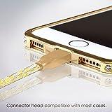 Lightning Kabel - 1m, Gold, Neustes Design - Sehr schnelles iPhone 7 Ladekabel - verstärktes USB Datenkabel mit Knickschutz - Für Apple iPhone 7 6 5, iPad, iPod - SWISS-QA Geldrückgabe Garantie - 4
