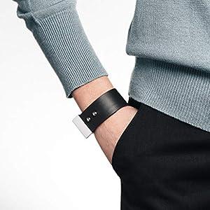 Frauen Lederarmband, schwarzes Armband, breites Armband, schwarze Manschette, Ledermanschette, echtes Leder