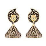 Jewlot Brass Black Jhumkas For Girls and...