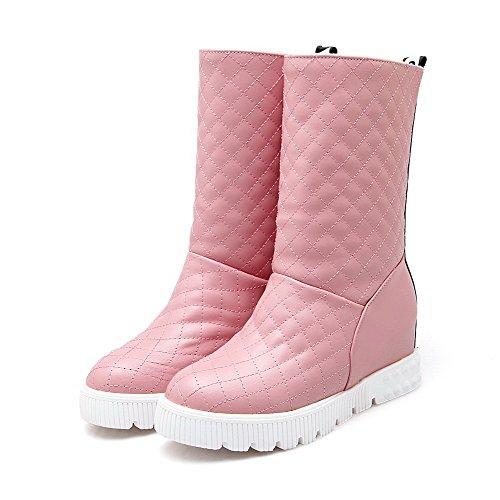 VogueZone009 Damen Mittler Absatz Reißverschluss Mitte-Spitze PU Leder Stiefel, Pink, 43