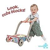 Labebe andador, uso 3 en 1 como carruaje, zorro azul andador con bloques de 1-3 años, sin caminar andador/andador madera/andador de madera/andador de madera/andando bebé andador bebé/andador