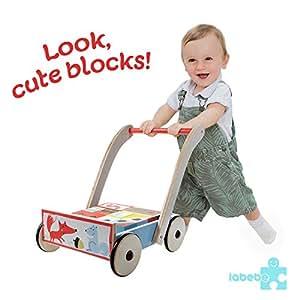 Labebe Baby Walker, 3-in-1 Use as Push Along Toy, Blue Fox Mobility Walker with Block for 1-3 Years, Wooden Walker Kid/Pull Along Wagon/Easy Walker Children/Wooden Wagon Kid/Push Along Wagon